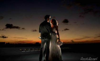 bride groom session at the sunset at finest playa mujeres