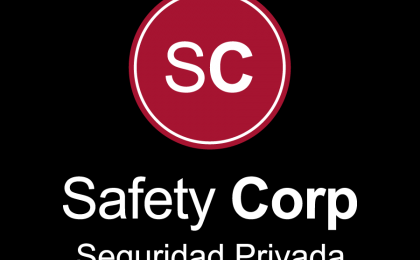 Safety Corp Seguridad Privada logotipo fondo negro